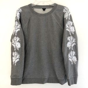 JCrew Sweatshirt with Flower Embroidered sleeves